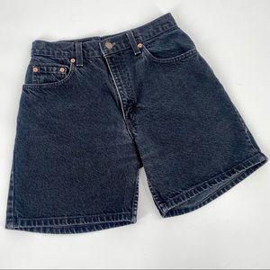 VTG Levis 550 Shorts Jr 7 Black Cotton Relaxed Fit